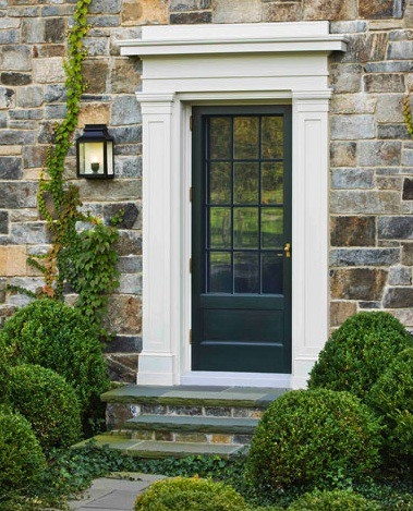 House of marlowe exteriors boxwoods hydrangea for French style front door