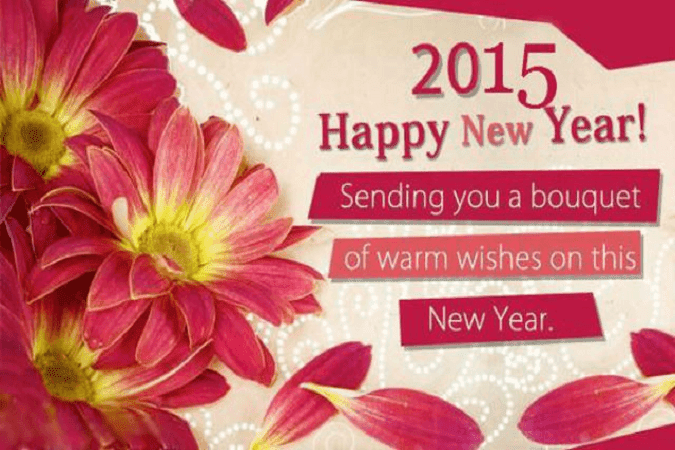 Pink-theme-Happy-New-Year-2015-Message-image-with-bouquet-flower-for-girls.png