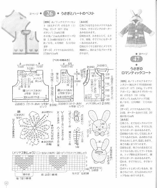 gráfico e receita do colete em tricô.