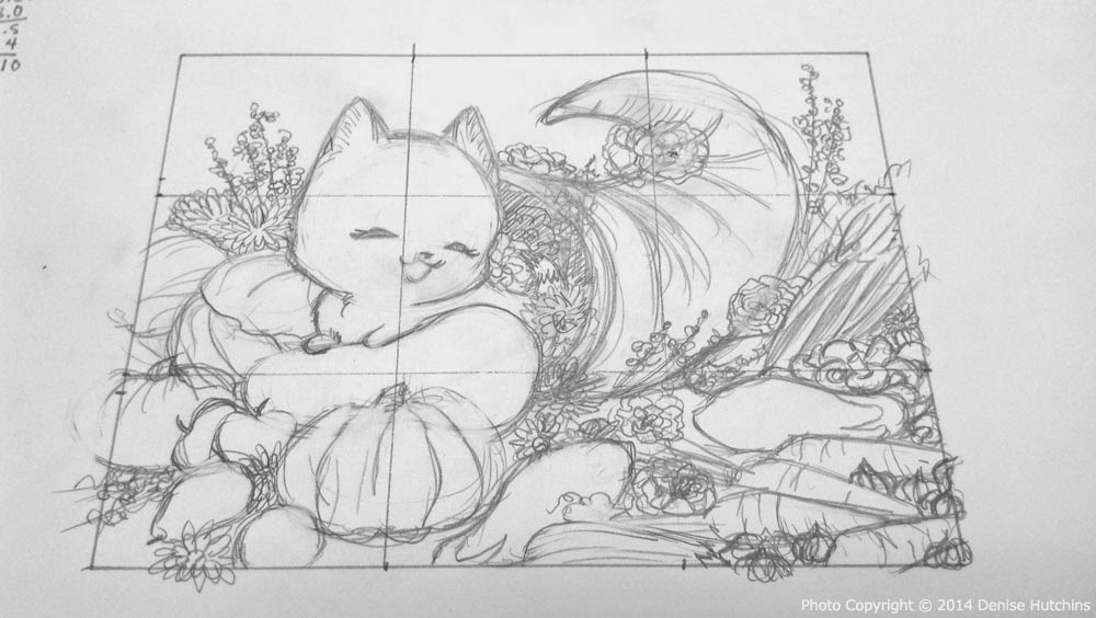 Half-Size Sketch of Kiki in a Cornucopia