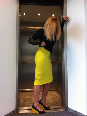 pencil skirt yellow