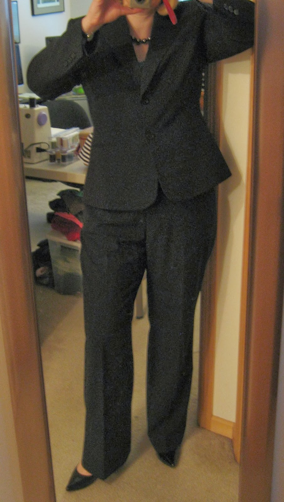 empirical question suitable interview attire it looks kind of bizarrely grey and almost tweedy in this photo but really it s just a flat black material the shoes are relatively comfortable heels