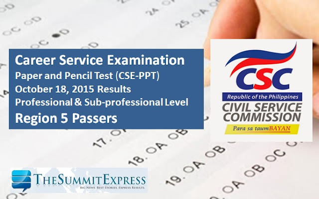 October 2015 Civil service exam (CSE-PPT) results