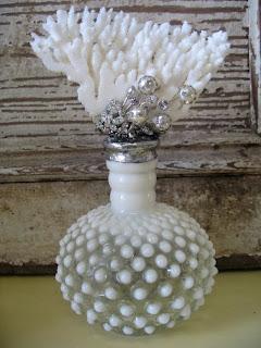 VIntage hobnail milk glass coral bottle