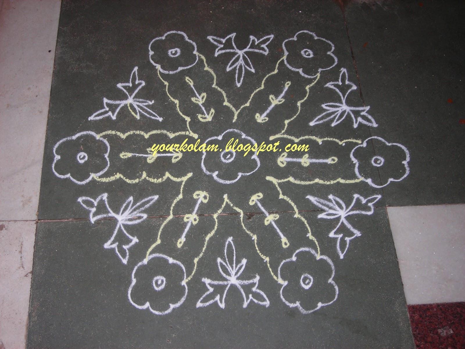 அழியாத கோலம்/ ముగ్గులు / रंगोली : Flower kolam Rangoli Designs With Dots For New Year 2012