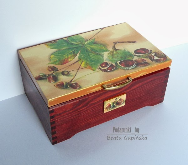 kufer decoupage motyw jesienny fall decoupage box