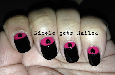 Half Moon Pink and Black with Rhinestones