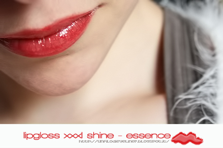 essence xxxl shine 21 red blossom swatch labbra