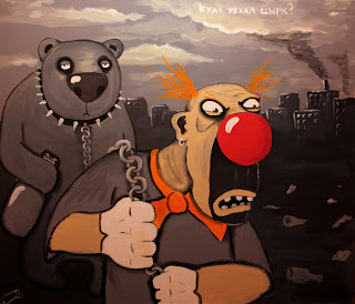 Sad exhausted Clown leading bear on chain, leave city by scorched ground, funny pictures, caricature, comics