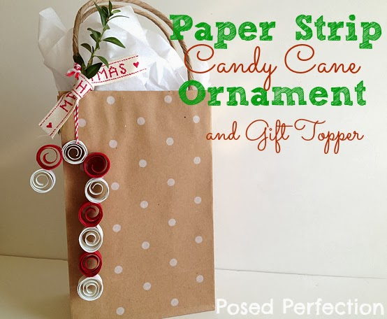 Paper Strip Candy Cane Ornament and Gift Topper