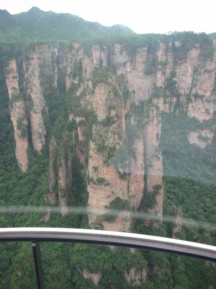Bailong Elevator built into the side of a huge cliff. Also known as Hundred Dragons Elevator, this glass elevator stands 330 meters tall and is claimed to be the highest and heaviest outdoor elevator in the world. Quite possibly, it is the only elevator in the world that lets people ride up a cliff.
