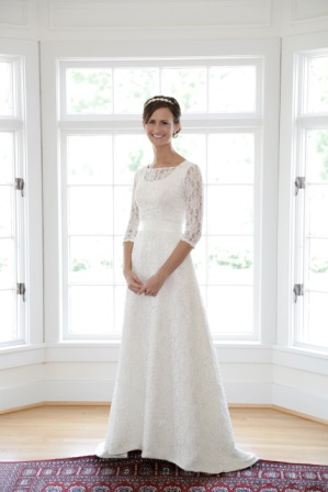 Long Lace Sleeve Modest Wedding Dress