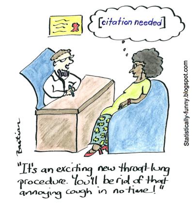 Desenhos animados ilustrando a necessidade de evidência de eficácia
