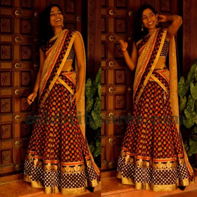 Bridal Half Saree in Black