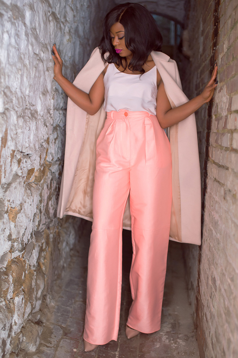 fall style, pink trend, Stella eneanya, Solace london, wide leg trouser, www.jadore-fashion.com
