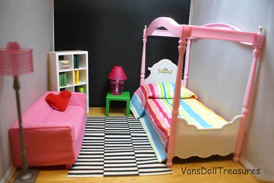 ikea huset doll furniture. this is a mock bedroom just to show parts of the set bed from gloria playset i didnu0027t get chance paint it yet but works perfectly ikea huset doll furniture