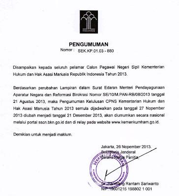 Pengumuman Hasil Akhir Tes CPNS Kemenkumham Desember 2013