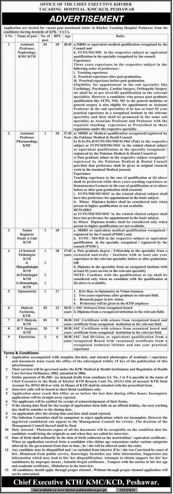 Vacancies in Khyber Teaching Hospital, Peshawar