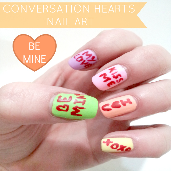 Conversation Heart Nails