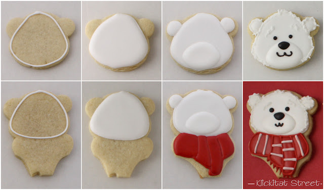 step by step tutorial of decorated Coca-Cola Polar Bear Face Cookies