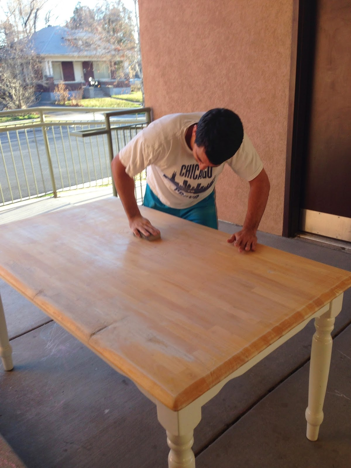 A Pink Kitchen Table Miss Brimley - Sanding kitchen table