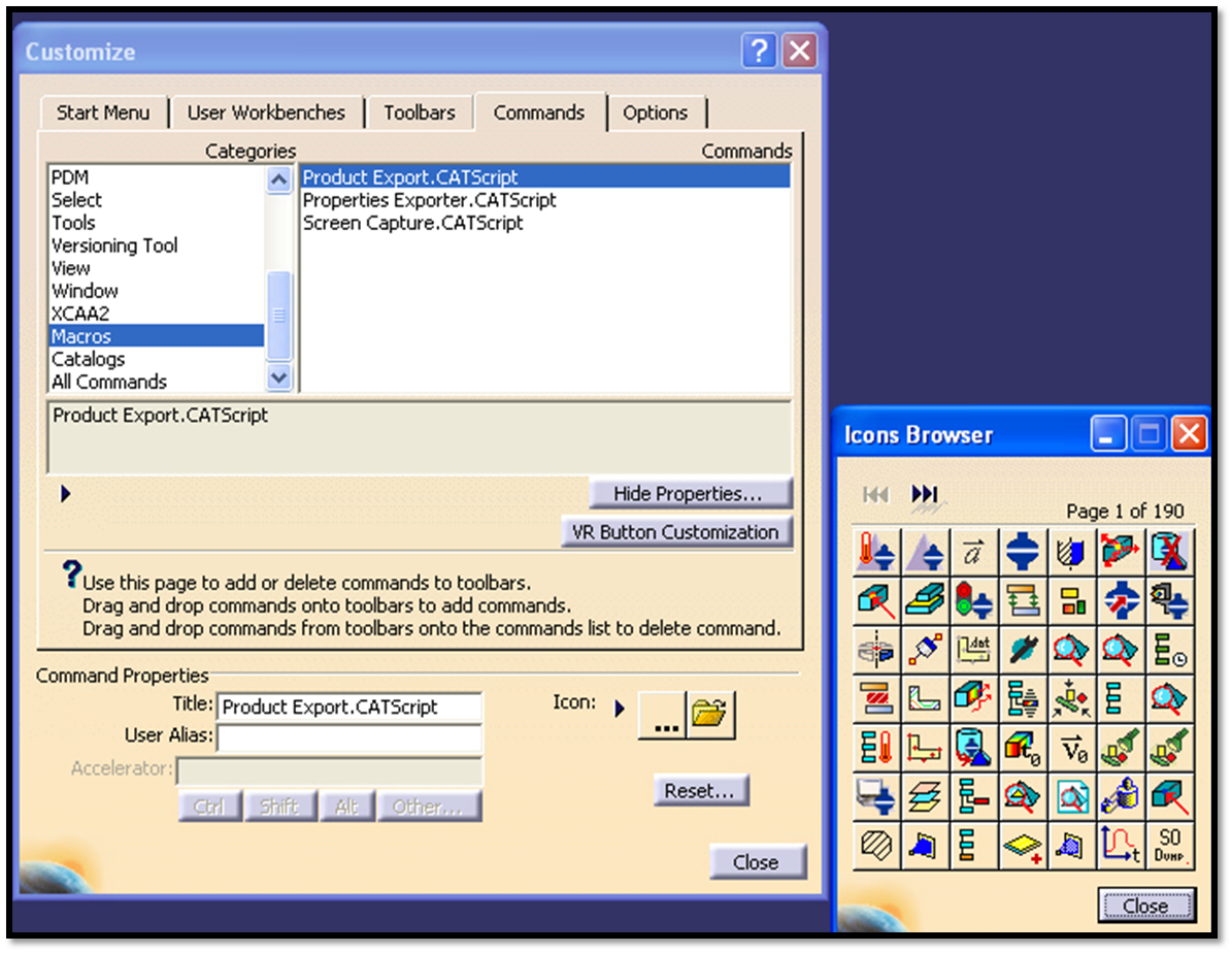 cad systems help how to add amacro icon to a toolbar in