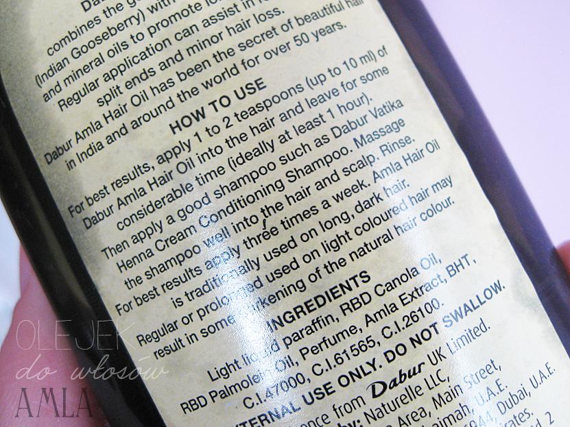 olejek do włosów Amla Dabur, parafina w pielęgnacji włosów