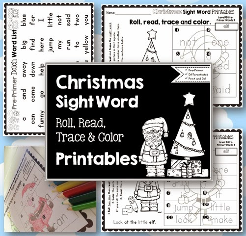 Sight Word Printables: Roll, Read, Trace and Color Christmas Pre-Primer Dolch Words  Christmas is almost here! This activity will give your students the opportunity to practice known sight words with a Christmas theme.