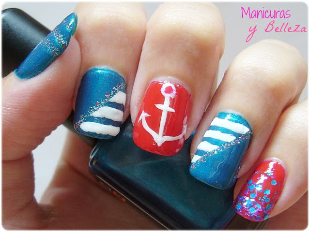Nautical Sailor nails nail art stripes white and blue anchor glitter red Manicura uñas marineras náuticas con lineas blancas azul rojo ancla