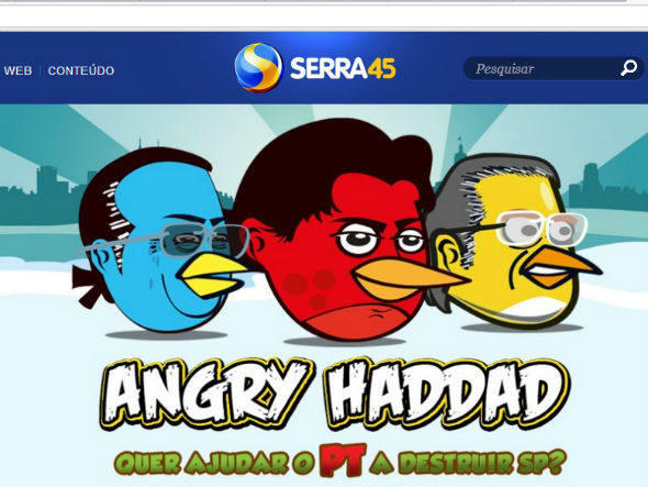 feita por serra, parodia de angry birds com maluf, dirceu e haddad. angry haddad