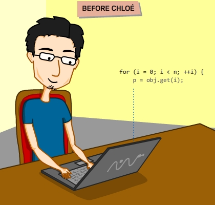 (Chloe) Chlo?, my dearest kitten, this is a tribute to all your technical contributions. Thank you. / / BEFORE CHLOE / Guy (author) in specs and blue t-shirt sits in from of his vaio lap top. He types in a structured code of a for loop and its inner contents. / ANNO GATTO (Year of the cat) / Chloe stands on the laptop keyboard. Random letter gets typed after the starting for clause, eventually switching the language to Japanese. The Japanese words read to Give me the Fish / Author: Chloe, NO! / Kitten: Meow
