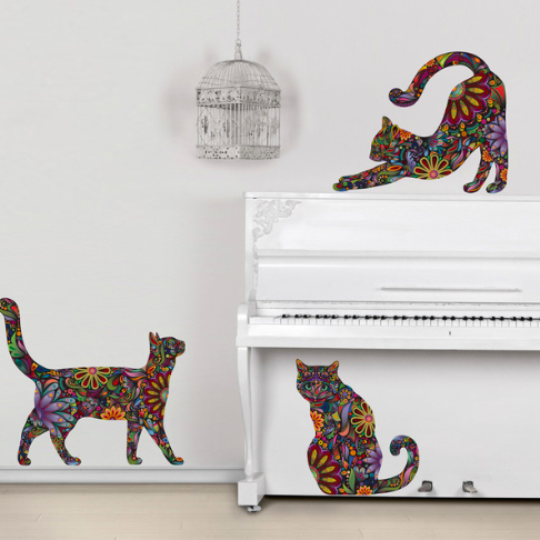 Cute This beautiful Cat Wall Sticker Trio features a rainbow of radiant colors in a funky floral pattern The feline sticker design will look great in a bedroom