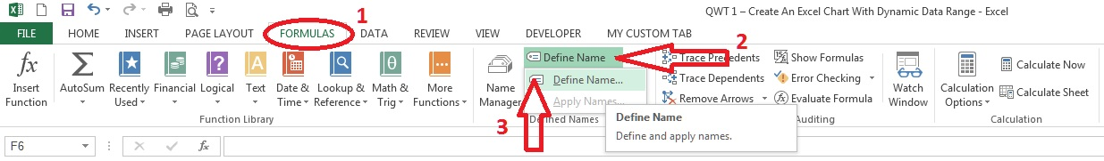 Create An Excel Chart With Dynamic Data Range - Define Name 1