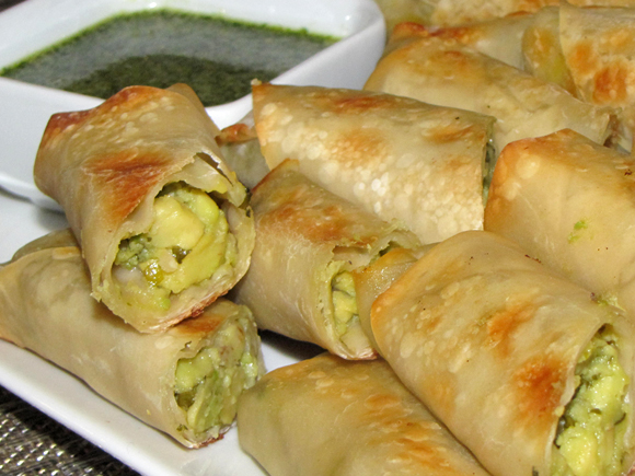 Baked Avocado Eggrolls With Honey Cilantro Dipping Sauce