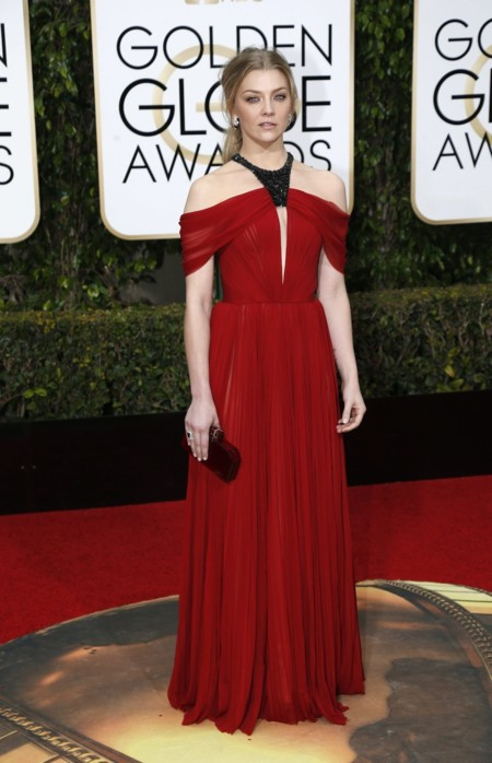 Natalie Dormer vestida de J. MEndel en los Golden Globes, enero 2016