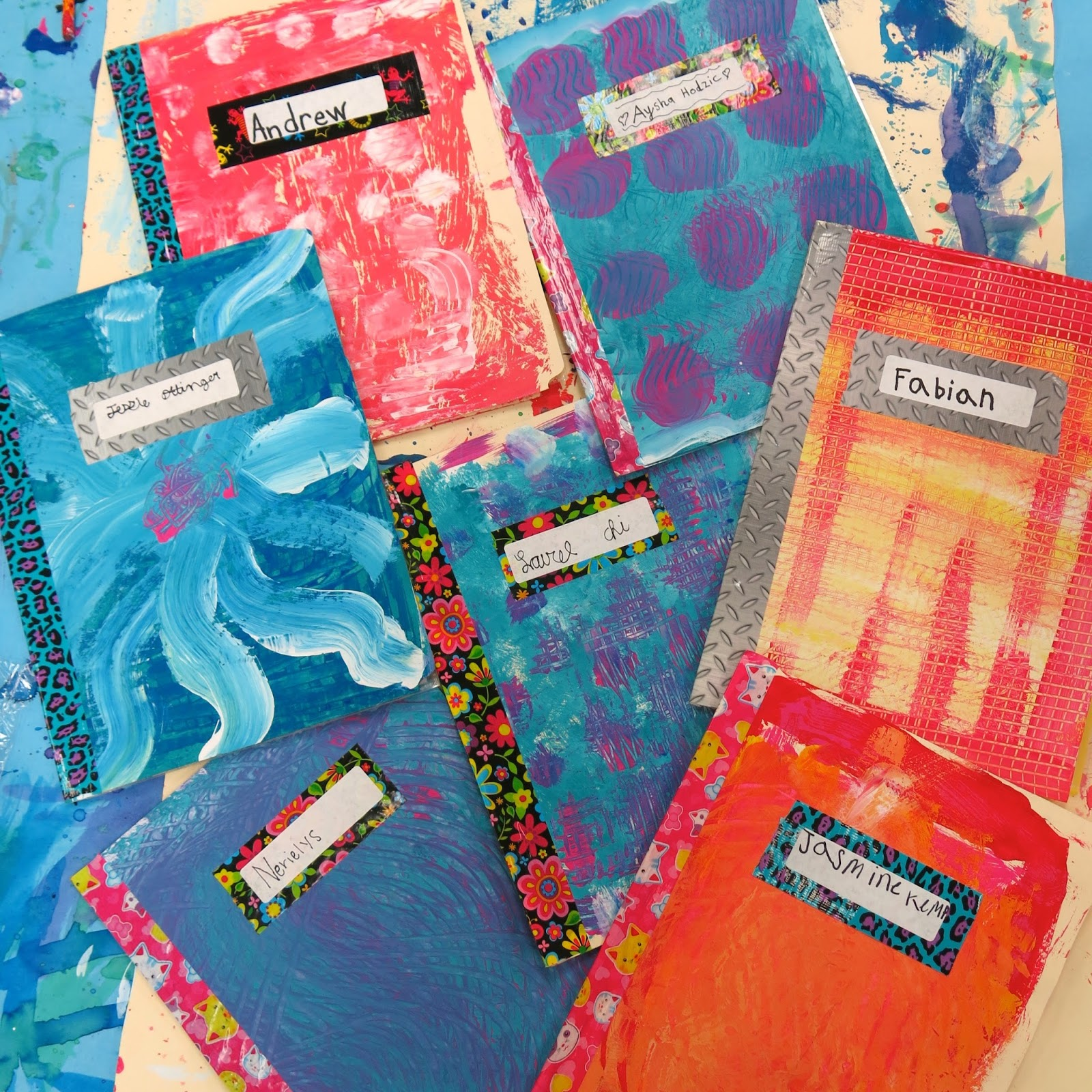 How To Make A Rainbow Book Cover ~ Cassie stephens in the art room sketchbooks for kids