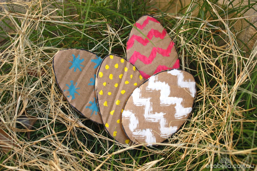 a nest of cardboard easter eggs for a chocolate free hunt