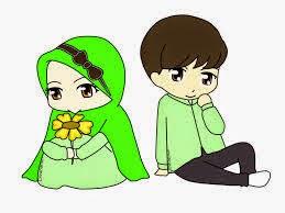 gambar Kartun  Muslim muslimah couple