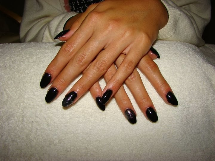 full cover black almond shaped acrylics topped then gold LED feats painted black LED-polish-manicure-OPI-Nail-Polish-Lacquer-Pedicure-care-natural-healthcare-Gel-Nail-Polish-beauty-Acrylic-Nails-Nail-Art-USA-UK