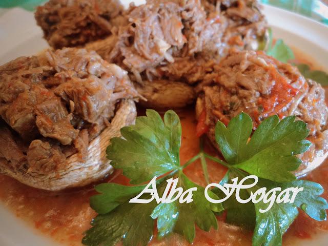 champiñones rellenos de carne alba hogar