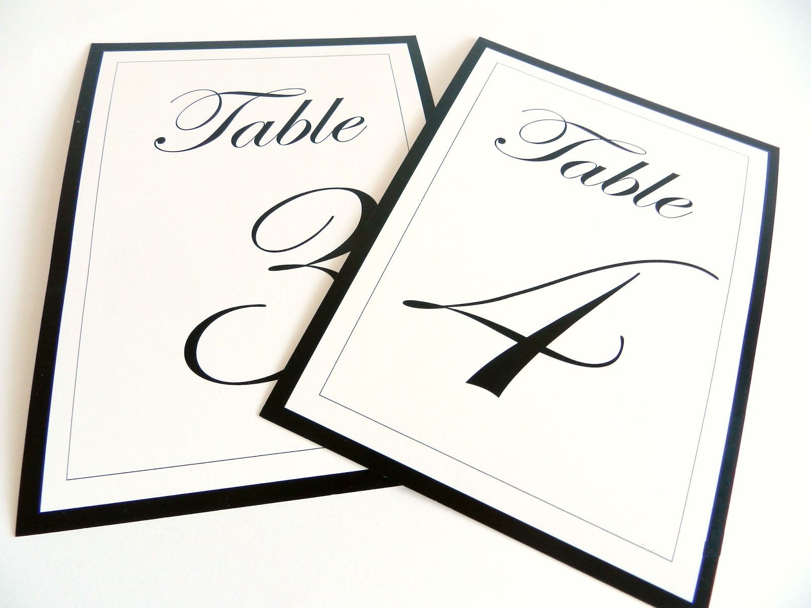 Table Numbers Elegant Black And White Flat Or Tent