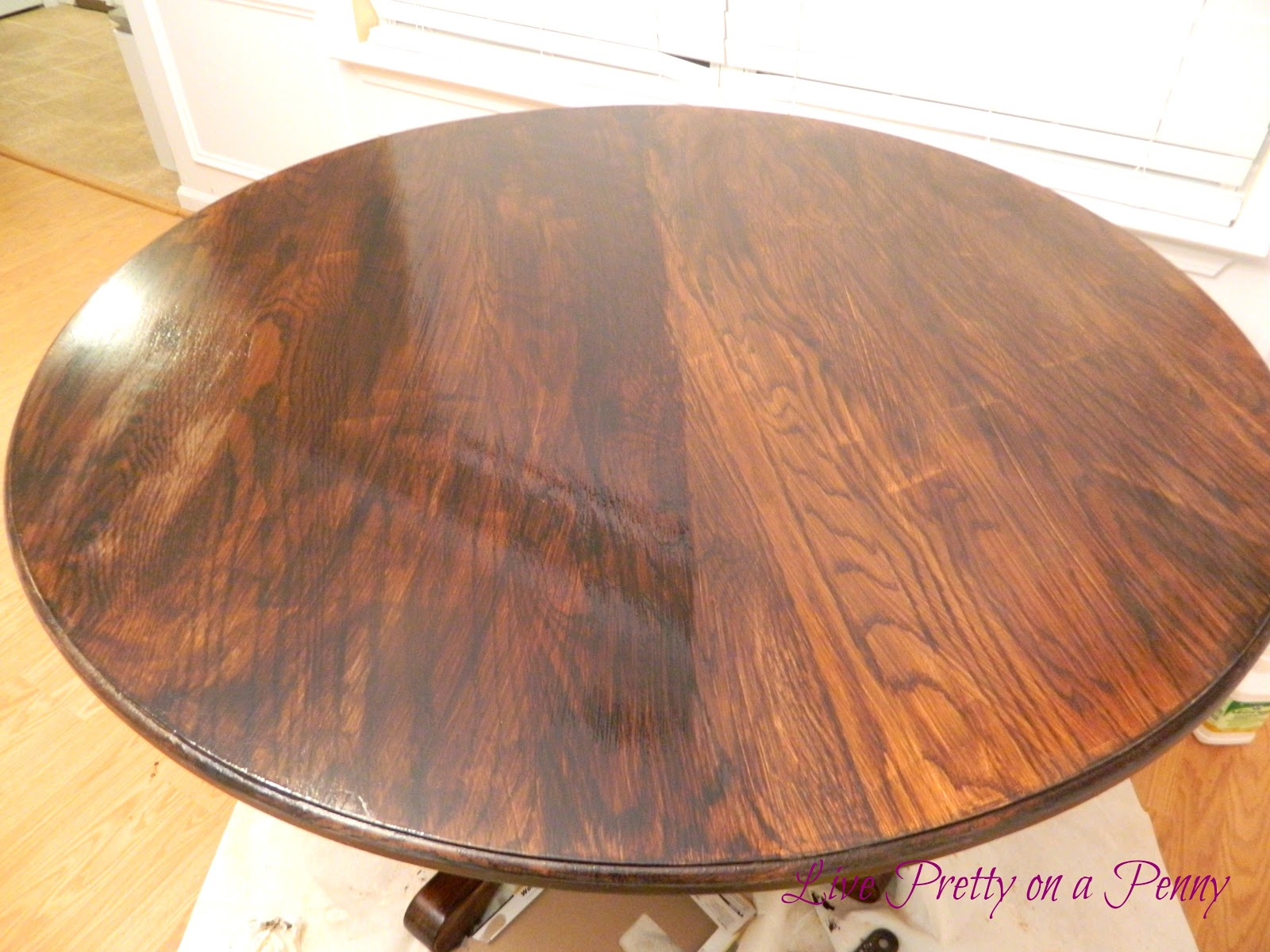 Pretty On A Penny: Refinishing An Oak Table {A Dining Room Update. Full resolution‎  portraiture, nominally Width 1600 Height 1200 pixels, portraiture with #B27919.