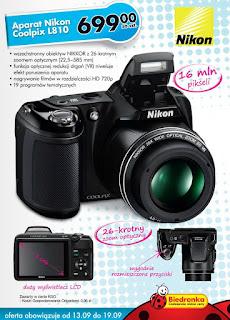 Aparat Nikon COOLPIX L810 z Biedronki ulotka