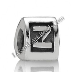 Wholesale Silver Alphabet Beads
