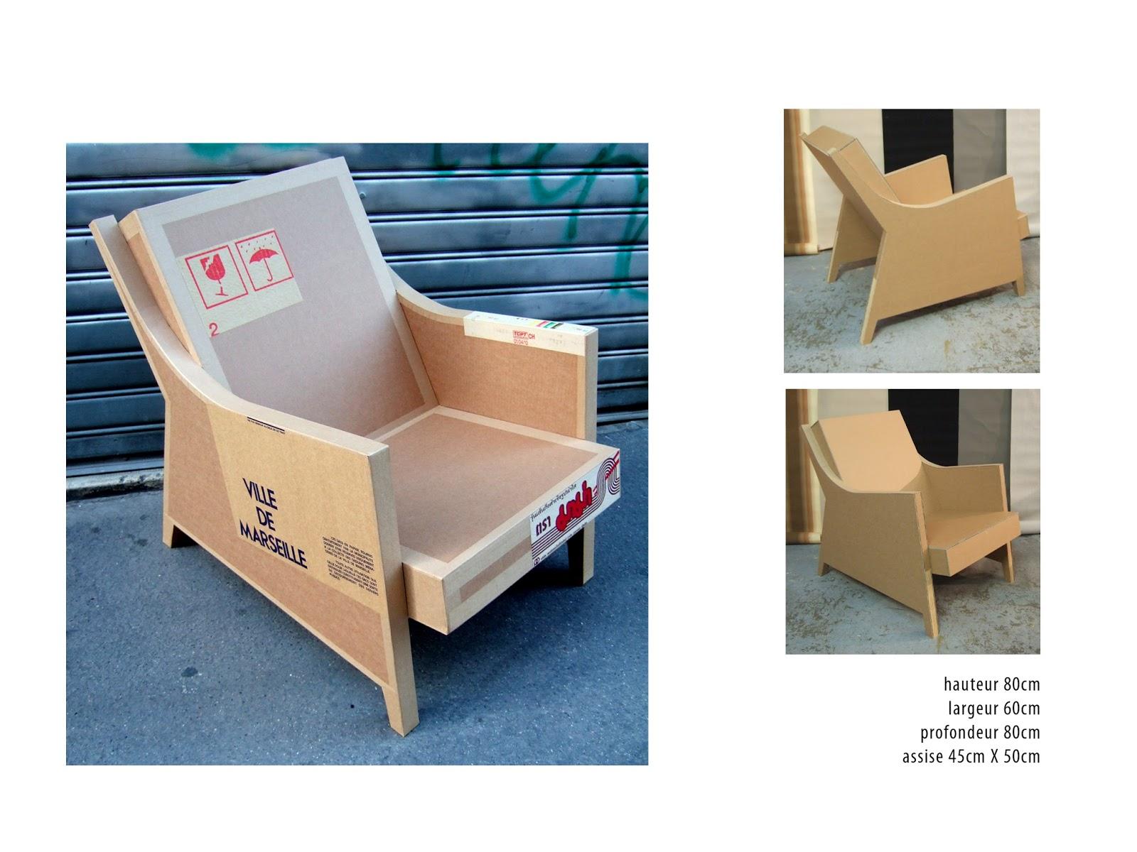fauteuil en carton design sur mesure. fabriqué à marseille par juliadesign