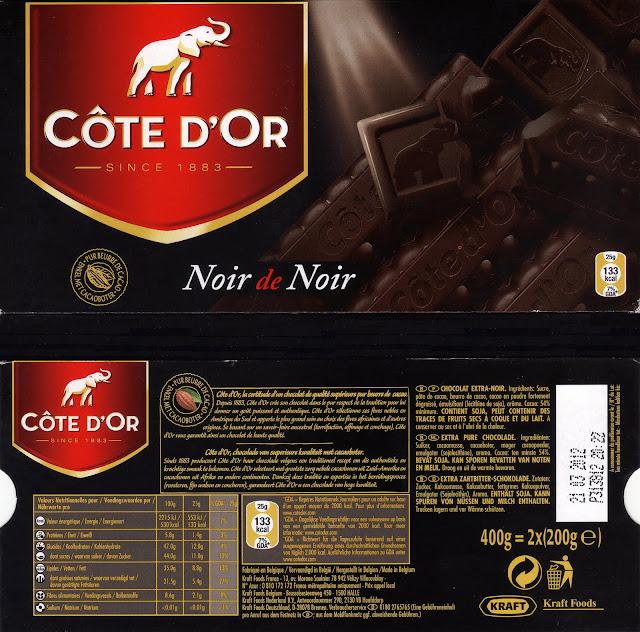 tablette de chocolat noir dégustation côte d'or noir de noir