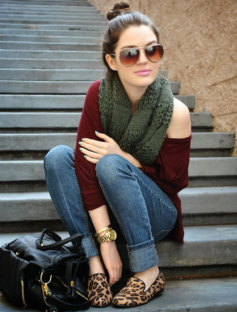 Comfy fall look slouchy sweater, infinity scarf, and animal print loafers