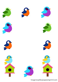 Child birds borders Borders children to print