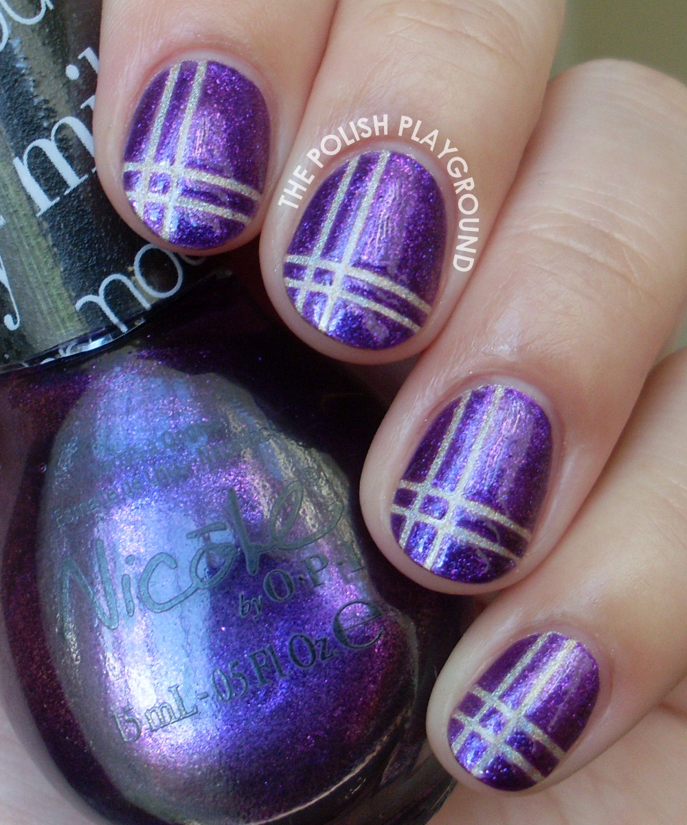 Purple and Holographic Neutral Plaid Nail Art