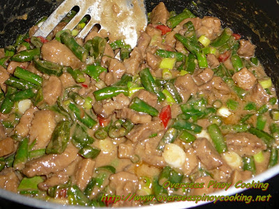 Creamy Bicol Express with Green Beans - Cooking Procedure